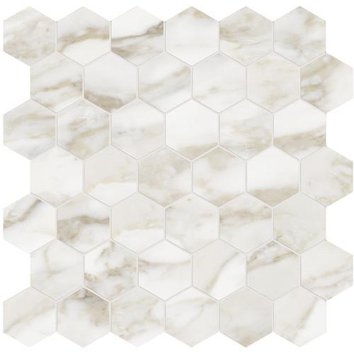 """La Marca Calacatta Paonazzo Honed 2"""" Hexagon Mosaic (4501-0351-0)"""