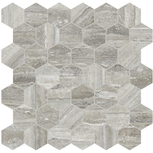 "La Marca Travertino Instrato Honed 2"" Hexagon Mosaic (4501-0355-0)"