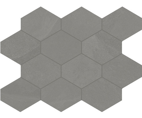 Brazilian Slate Silk Grey Porcelain Hex Mosaic 10x13 (8492)
