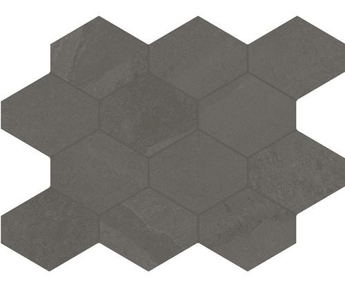 Brazilian Slate Elephant Grey Porcelain Hex Mosaic 10x13 (8493)