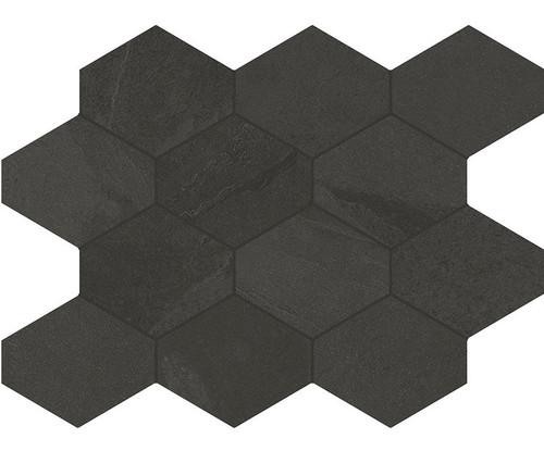 Brazilian Slate Rail Black Porcelain Hex Mosaic 10x13 (8495)