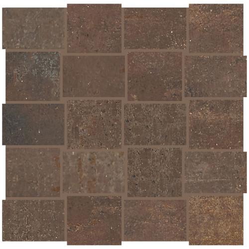 Union Rusted Brown Porcelain Basketweave Mosaic (UN0423MDWVMS1P2)