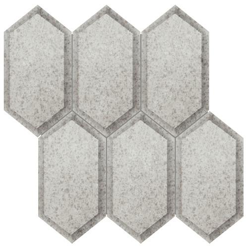 Obsidian Antique Silver Crystal Hexagon Mosaic (3001-0139-0)