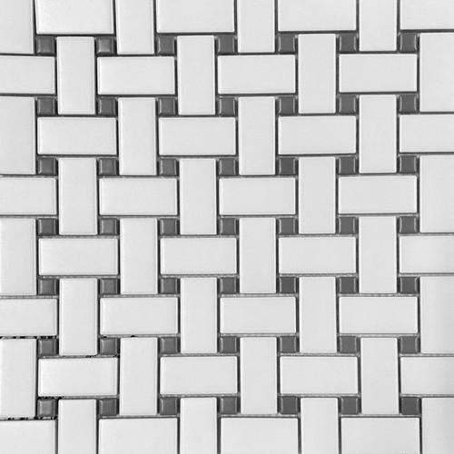 Retro Mosaics White Basketweave w/ Grey Dot (PMKD1502H2B)