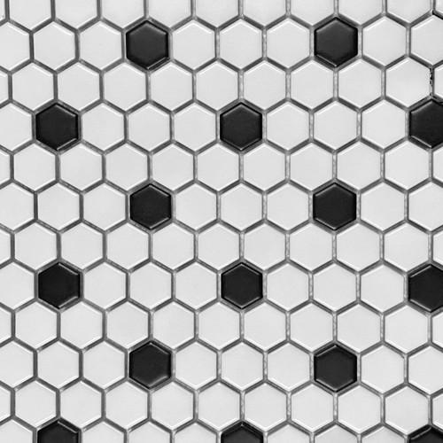 """Retro Mosaics Black/White Matte 1"""" Hexagon Mosaic (PMCZG017Y)"""