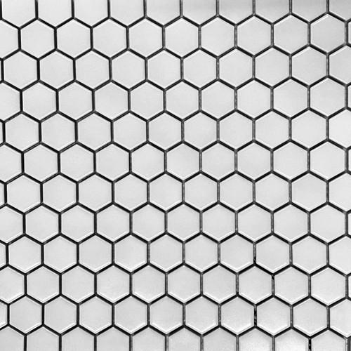 """Retro Mosaics White Matte 1"""" Hexagon Mosaic (PMKL1001)"""