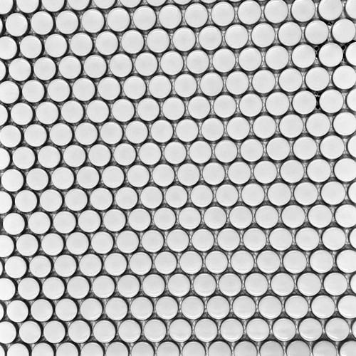 "Retro Mosaics White Glossy 3/4"" Penny Round (PMKW1001)"