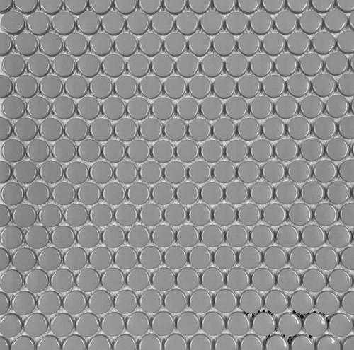 """Retro Mosaics Gray Glossy 3/4"""" Penny Round (PO02062GD19)"""