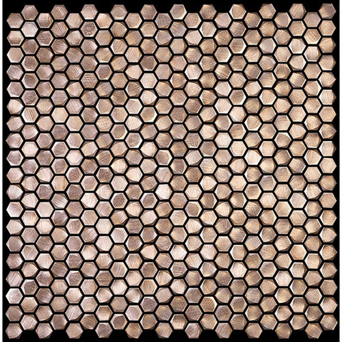 "Metal Elements Salmon Rose 0.5"" Hexagon Mosaic (AMHEX-00"
