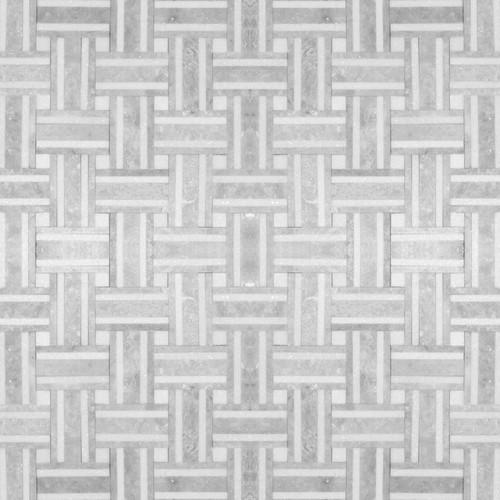 Manhattan Carrara & Thassos Polished Bacon Mosaic (MB103)
