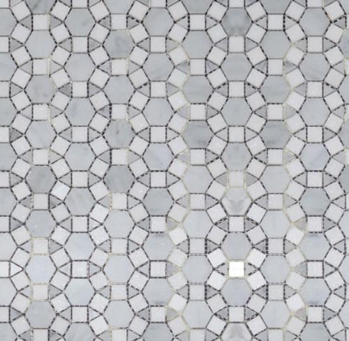 Manhattan Carrara Hex & Thassos Square & Carrara Tri Sunflower Mosaic (MB118)