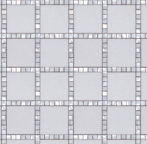 Manhattan Thassos & Mother of Pearl Square Mosaic (MB120)
