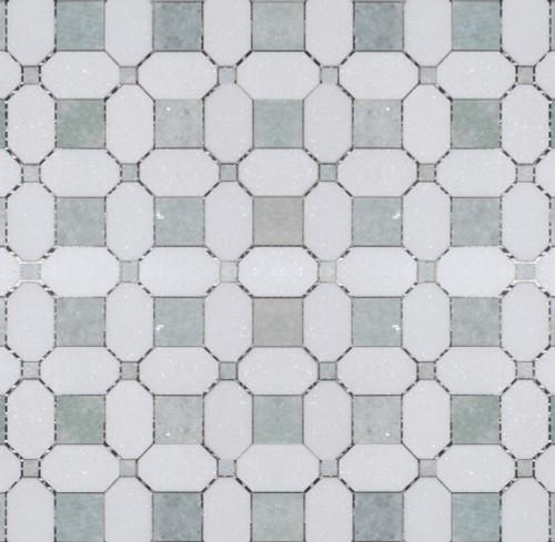 Manhattan Ming Green & Thassos Polished Square Dot Mosaic (MB143)