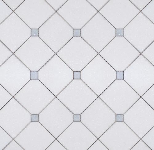 Manhattan Large Thassos Square & Blue Celeste Dot Polished Mosaic (MB149)