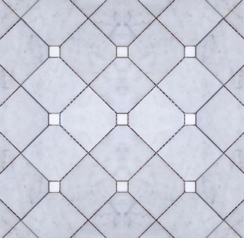Manhattan Large Honed Carrara Square & Polished Thassos Dot Mosaic (MB150)