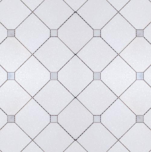 Manhattan Large Thassos Square & Carrara Dot Polished Mosaic (MB152)