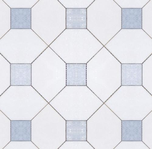 Manhattan Thassos Square & Blue Celeste Dot Polished Mosaic (MB153)