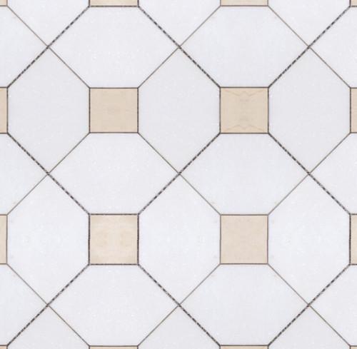 Manhattan Thassos Square & Crema Marfil Dot Polished Mosaic (MB154)