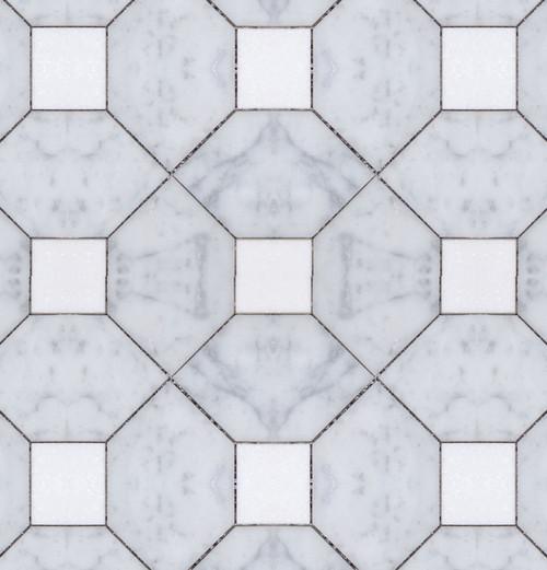 Manhattan Carrara Square & Thassos Dot Polished Mosaic (MB155)