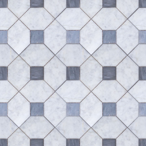 Manhattan Carrara Square & Bardiglio Dot Honed Mosaic (MB156)