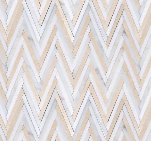 Manhattan Thassos, Crema Marfil & Calacatta Polished Skinny Chevron Mosaic (MB162)