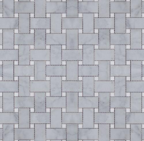 Manhattan Carrara with Thassos Dot Polished Basketweave Mosaic (MBW113)