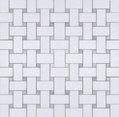Manhattan Thassos with Ming Green Dot Polished Basketweave Mosaic (MBW114)