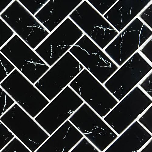 Nero Marquina 2x4 Glass Herringbone Mosaic (SMOT-GLS-NERMAR2X4HB)