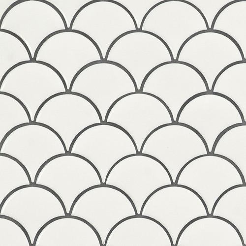 Domino White Glossy Scallop Mosaic (SMOT-PT-RETBIA-SCALOP)