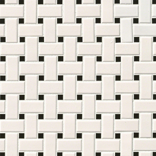 Domino White & Black Matte Basketweave Mosaic (SMOT-PT-RETBIA-BW)
