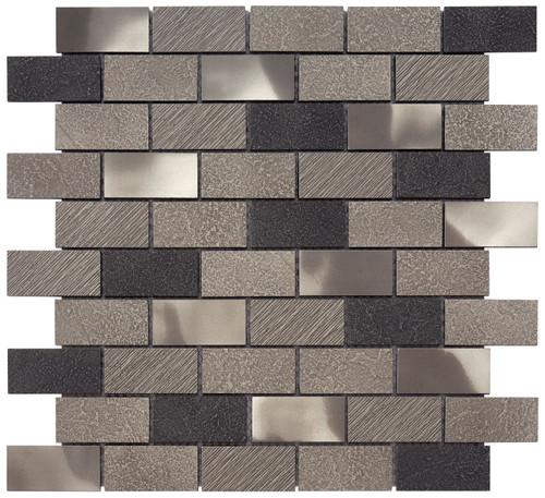 Twill Brushed Nickel Brick Mosaic 1x2 (MOSA200005