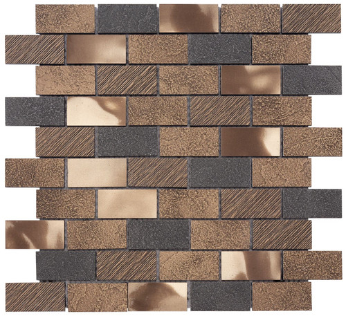 Twill Antique Bronze Brick Mosaic 1x2 (MOSA200006