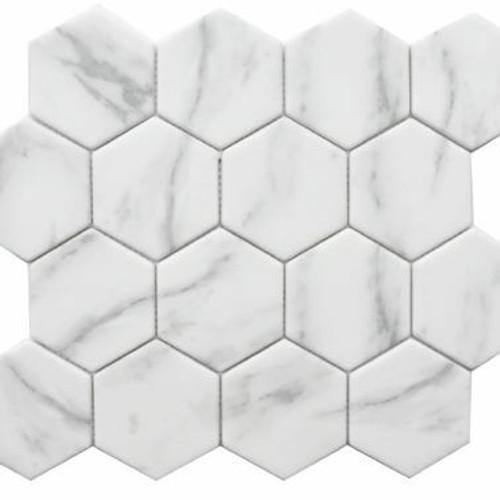 Enameled Glass Carrara Hexagon Mosaic