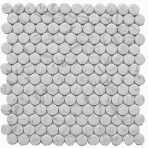 Enameled Glass Carrara Penny Round Mosaic