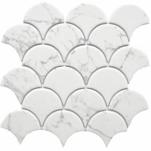 Enameled Glass Carrara Fan Mosaic