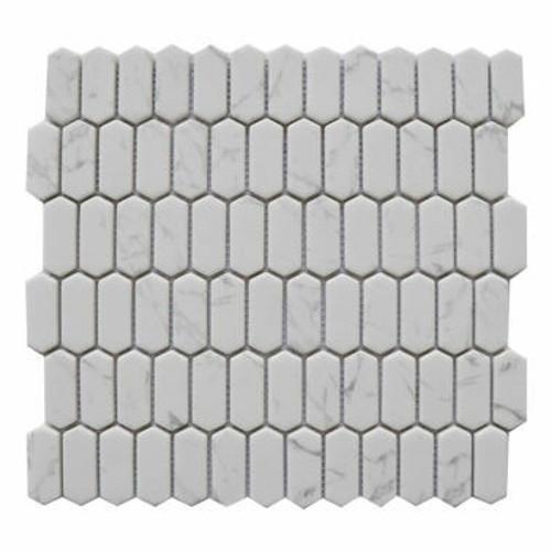Enameled Glass Carrara Mini Picket Mosaic