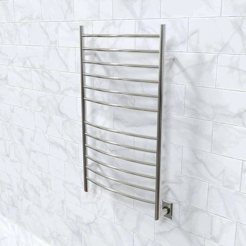 Radiant Polished Hardwired Large Curved Heated Towel Warmer 23.625 x 41.375