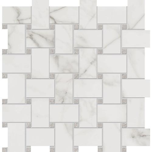 Velvet White Matte Porcelain Basketweave 12x12 Sheet (NA84)