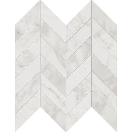 Velvet White Matte Porcelain Chevron Mosaic 12x12 Sheet (NA88)
