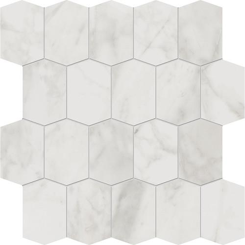 Velvet White Matte Porcelain Elongated Hex Mosaic 12x12 Sheet (NA98)