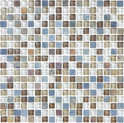 Glass Slate and Quartz Amber Tea Glass Slate Blend Mosaic 5/8 x 5/8