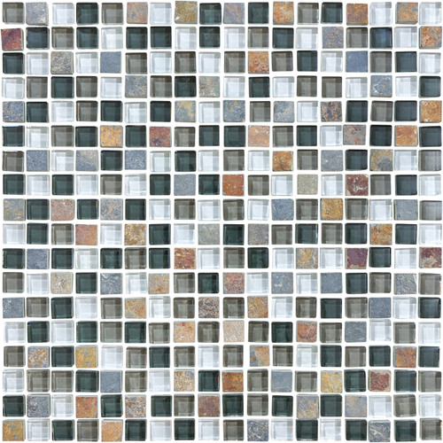 Glass Slate and Quartz Smoky Mica Glass Slate Blend Mosaic 5/8 x 5/8