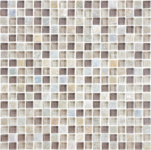 Glass Slate and Quartz Cotton Wood Glass Quartz Blend Mosaic 5/8 x 5/8