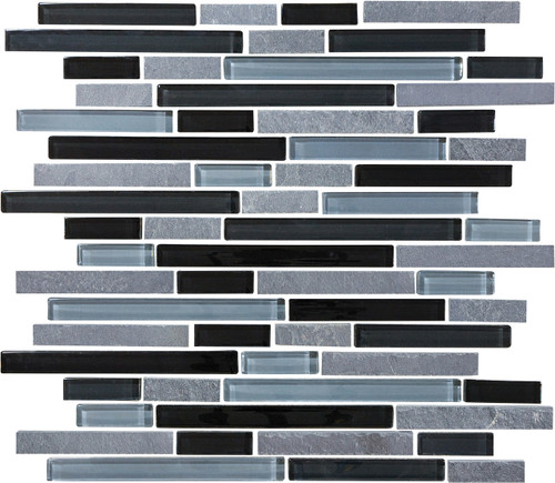 Glass Slate and Quartz Black Timber Glass Slate Blend Linear Mosaic 12x12 Sheet