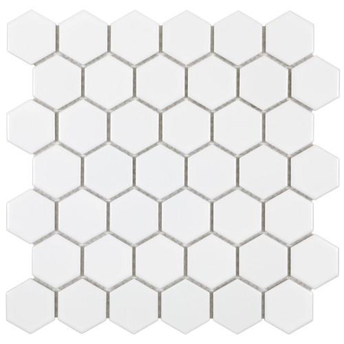 "Porcelart White Matte 2"" Hex Mosaic (SF200072)"