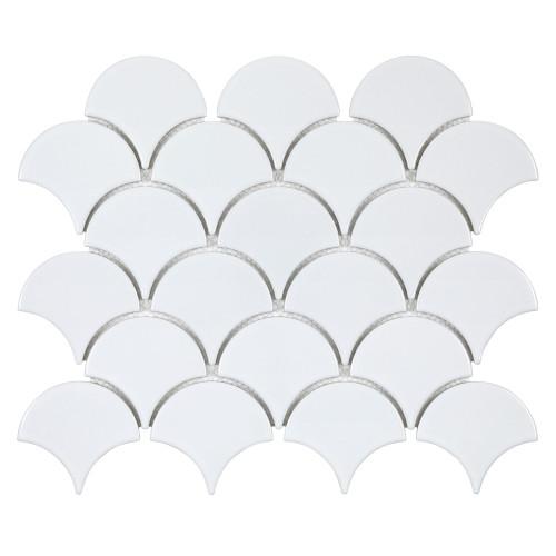 "Porcelart White Glossy 3"" Fan Mosaic (SF200070)"