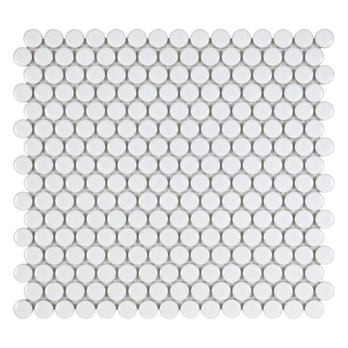 Porcelart White Glossy 3/4 in. Penny Round Mosaic (SF200076)