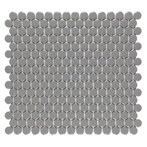 Porcelart Grey Glossy 3/4 in. Penny Round Mosaic (SF200083)