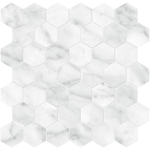 Plata Carrara Abisso Matte Porcelain 2 in. Hexagon Mosaic (4501-0418-0)