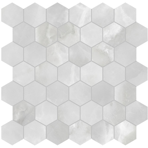 Plata Onyx Crystallo Polished Porcelain 2 in. Hexagon Mosaic (4501-0415-0)